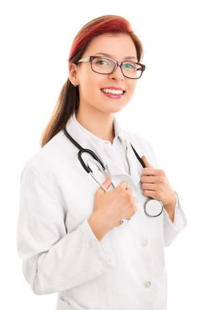 reassuring: Confident and reassuring female doctor face Stock Photo