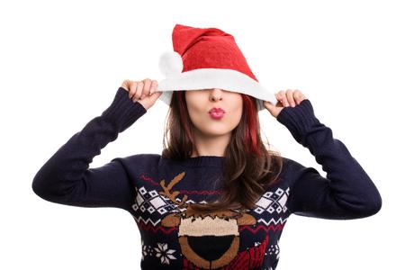 sch�ne frauen: K�sse f�r die Weihnachtsfeiertage. Lizenzfreie Bilder