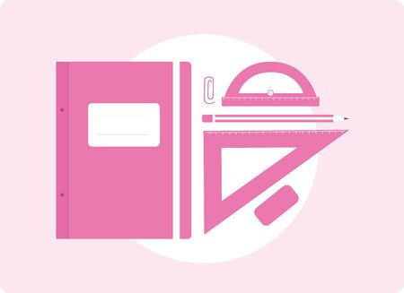 Stylized illustration of school supplies on a pink background.