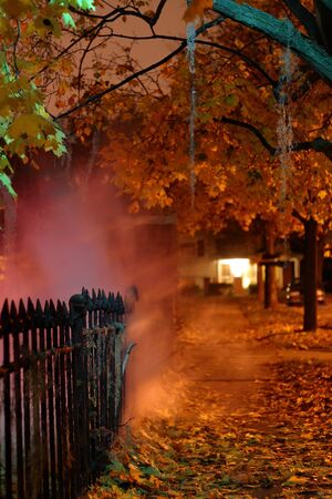 Fog and spooky lights guide the way along the skull fence at the Brandywine Cemetary Zdjęcie Seryjne