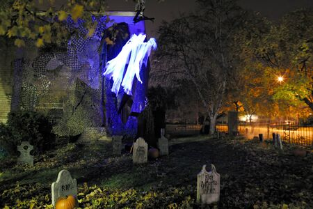An eerie night at the Brandywine Cemetery on a Halloweens Eve