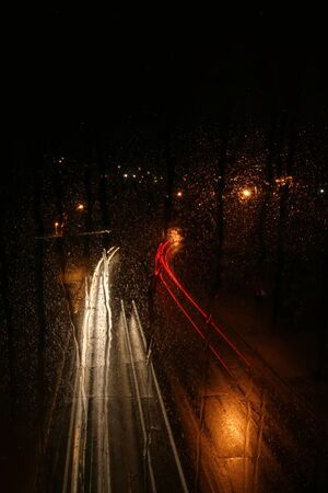 A long exposure on a rainy night in Ann Arbor, Michigan illum