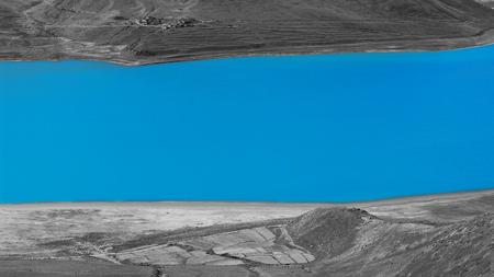 sierra snow: View of a blue lake Stock Photo