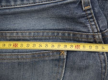 mesure: Jeans mesure Stock Photo