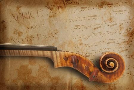 musical score: vintage violin score above
