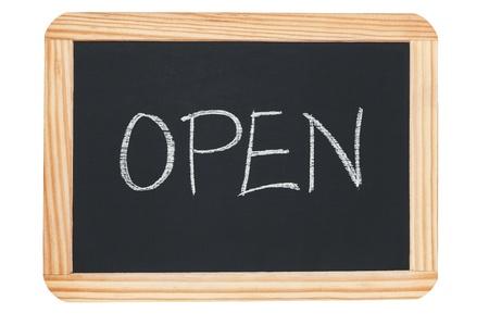 OPEN writting on black blackboard 版權商用圖片