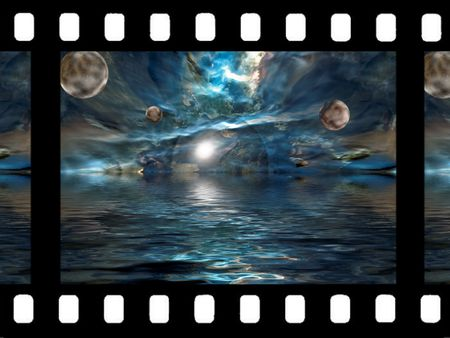 unreal: unreal universe on film with ocean, sea, space and planet.