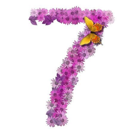 numeral or number 7 forms pink daisy color photo