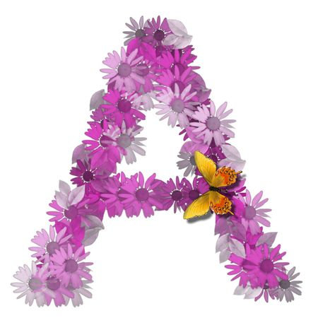 alphabetical letter pink color forms daisy, letter A