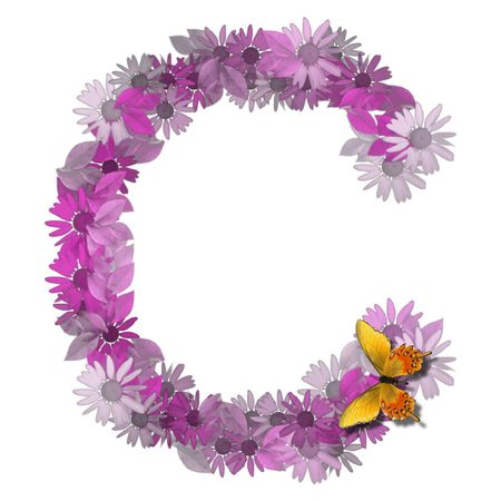vowel: alphabetical letter pink color forms daisy, letter C Stock Photo