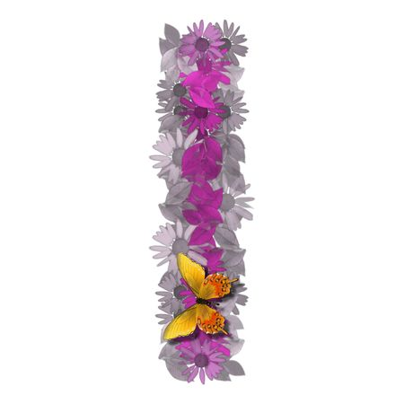 artificial flowers: alphabetical letter pink color forms daisy, letter I Stock Photo