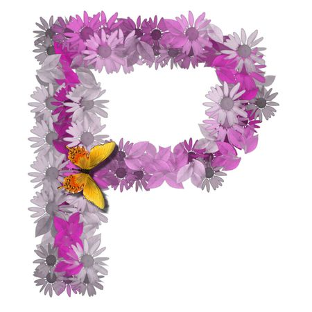 orthographic: alphabetical letter pink color forms daisy, letter P