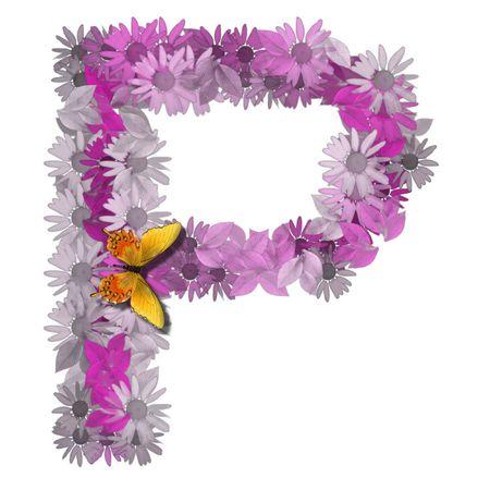 artificial flowers: alphabetical letter pink color forms daisy, letter P