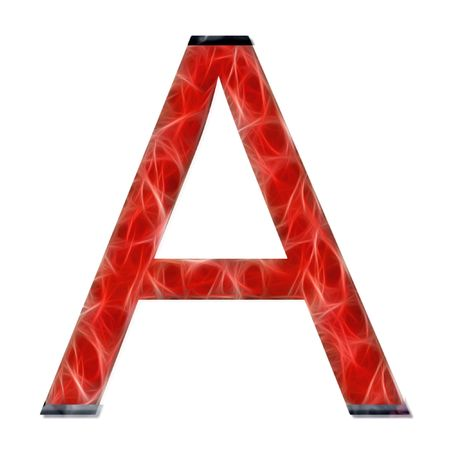vowel: alphabetical letter, vowel A, modern red color