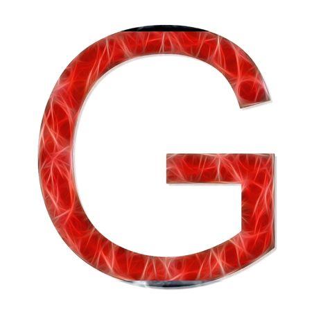 consonant: alphabetical letter, consonant G, modern red color