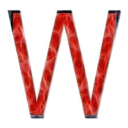 consonant: alphabetical letter, consonant W, modern red color