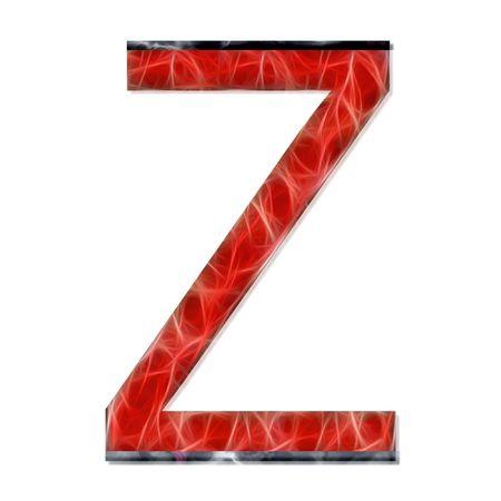 consonant: alphabetical letter, consonant Z, modern red color Stock Photo