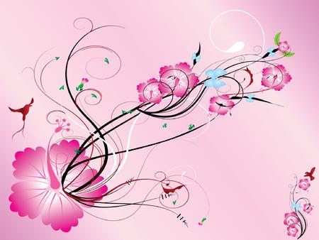 Pink color floral,  illustration Vector