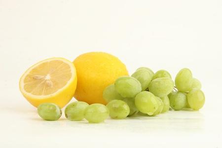 fresh fruit lemon and grape