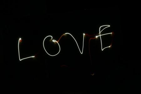 torchlight: Love light painting Stock Photo