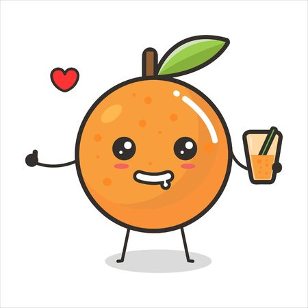 Orange Fruit thumbs up with orange juice in hand Mascot Character Cute Outline Flat Design Vector Illustration Illustration