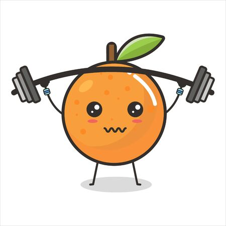 Orange fruits lift barbell weights Mascot Character Cute Outline Flat Design Vector Illustration