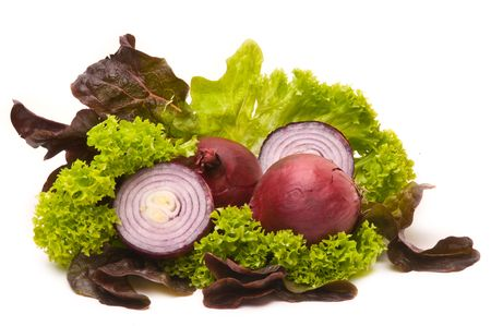 Red Onions with green and red salad photo