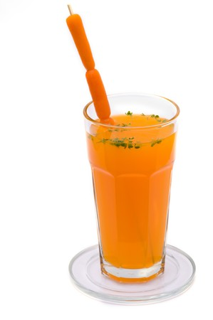 carot: A fresh, cold and tasty carot juice for your health. Stock Photo