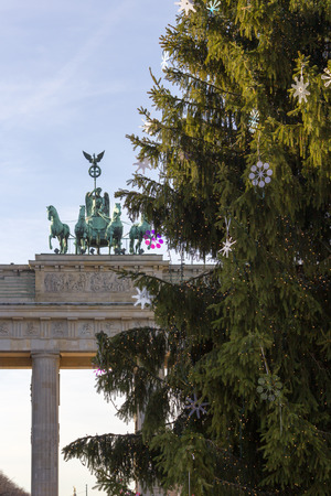 brandenburg gate: Brandenburg Gate with Christmas Tree Stock Photo
