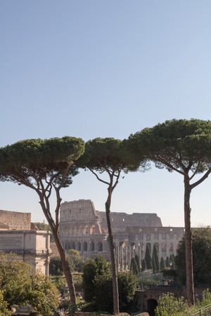 The Roman Forum and Colosseum in Rome, Italy