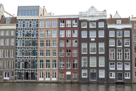 Traditional old buildings in Amsterdam, Netherlands