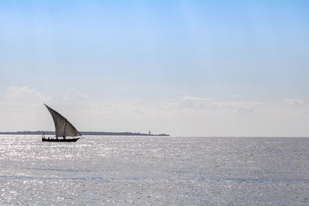 Boat trip with a dhow in Zanzibar Archivio Fotografico