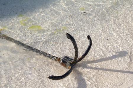 ship anchor on beach