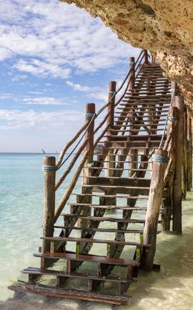 Stairs on the beach in Zanzibar