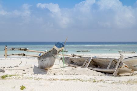 The traditional dhow on the beach on Zanzibar, Tanzania