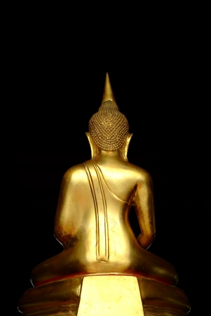 Golden Buddha Statue at the back side on the dark background