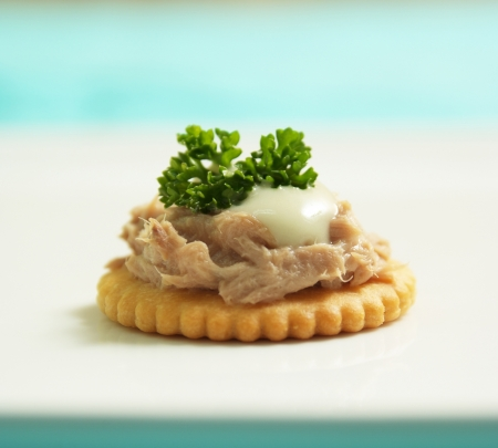 Yummy tuna canape with creamy Stock Photo