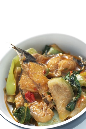 Fired catfish hot and spicies food one of dilicious Thai food Stock Photo