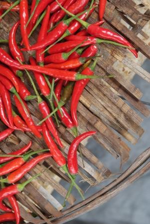 Paprika dried in basket
