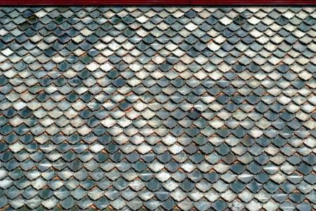 The pattern of a ceramic roof in a thai temple photo