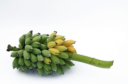 ripening: Ripe banana bunch on white backgroud  Stock Photo