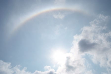 Sun halo  appears on the sky