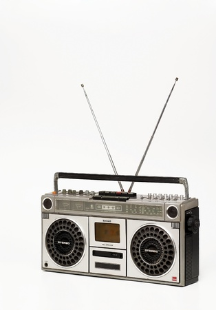 The retro cassette radio on white background photo