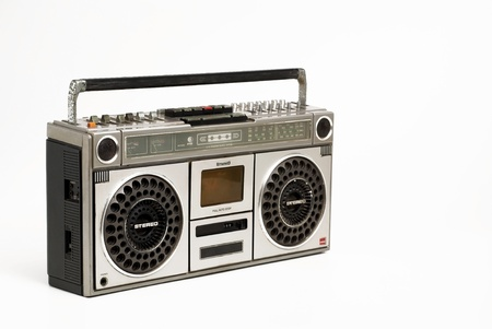 The retro cassette radio on white background