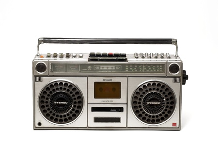 tape player: The retro cassette radio on white background