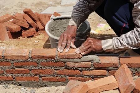 buiding: Building contractor was buiding a brick wall