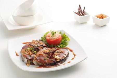 Fired mackerel with tamarind sauce on white back ground Stock Photo - 23011000