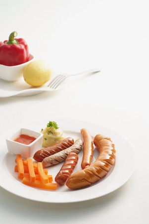 Many kinds of sausages with accessories on white  Stock Photo - 23011031