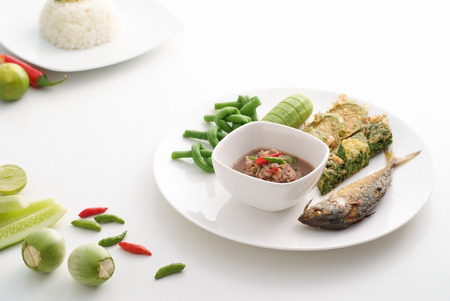 Fried mackerel with chilli in thai style on white background Stock Photo - 25831423