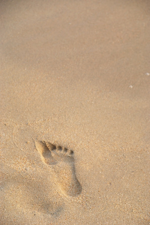 A footstep on the beach in  the evening
